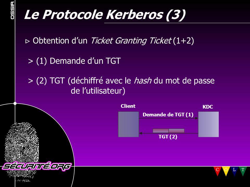 Le Protocole Kerberos (3)  Obtention d'un Ticket Granting Ticket (1+2) > (1) Demande d'un TGT > (2) TGT (déchiffré avec le hash du mot de passe de l'