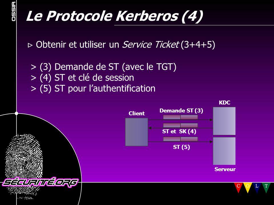 Le Protocole Kerberos (4)  Obtenir et utiliser un Service Ticket (3+4+5) > (3) Demande de ST (avec le TGT) > (4) ST et clé de session > (5) ST pour l