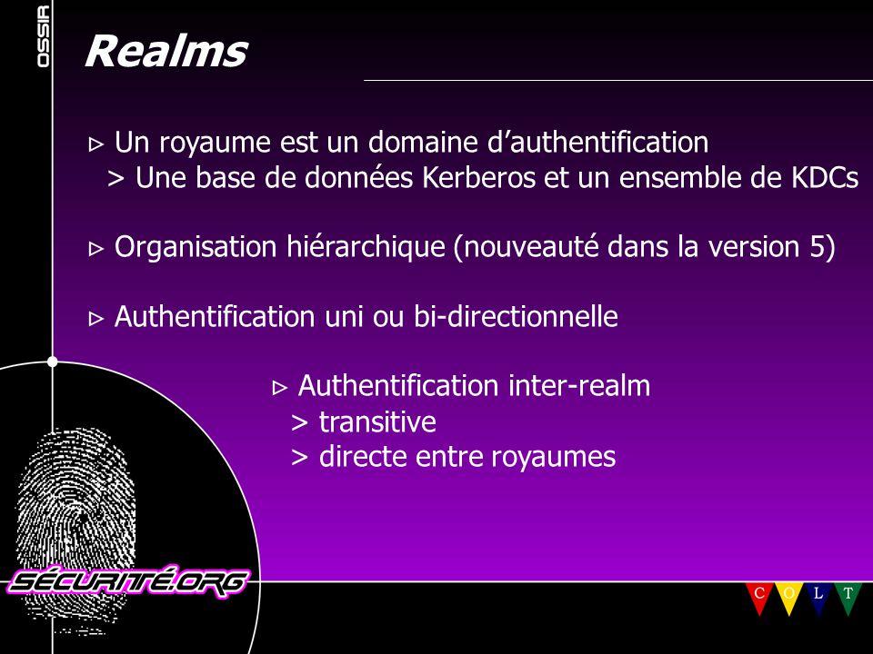 Realms  Un royaume est un domaine d'authentification > Une base de données Kerberos et un ensemble de KDCs  Organisation hiérarchique (nouveauté dan