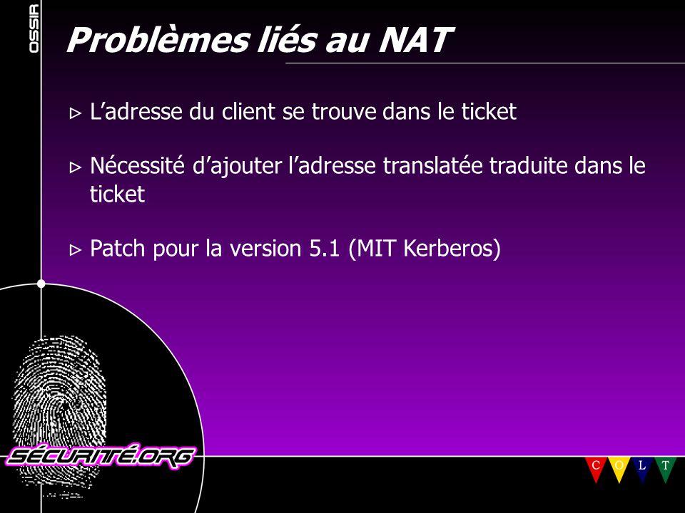 Problèmes liés au NAT  L'adresse du client se trouve dans le ticket  Nécessité d'ajouter l'adresse translatée traduite dans le ticket  Patch pour l