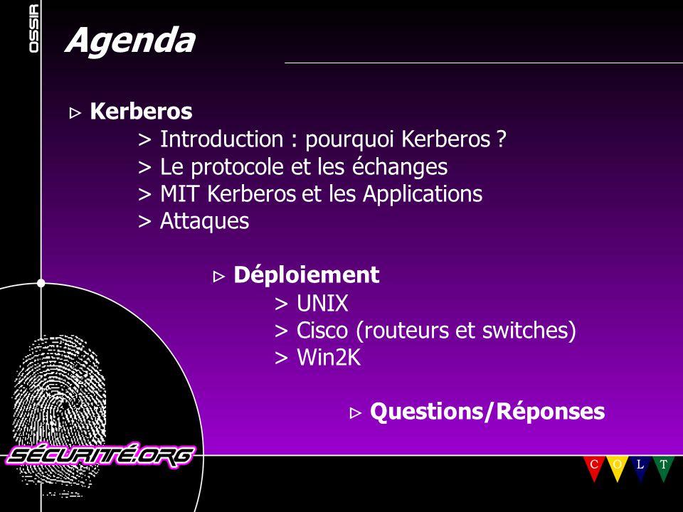 Kerberos V sur les clients *NIX (1)  Authentification gérée par l'API Kerberos  Configuration de l'authentification par utilisateur : ~/.k5login - liste les principaux qui peuvent se connecter sur ce compte ~/.k5users - liste les commandes qui peuvent être lancées via ksu (similaire à sudo)  alternative PAM non conseillée © 2001 Sécurité.Org