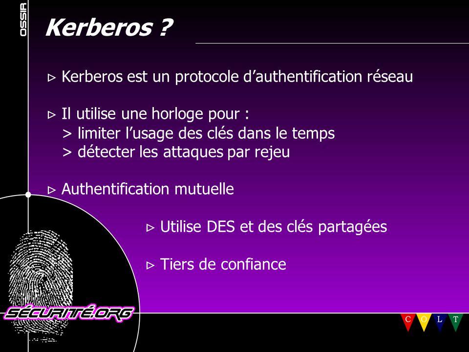 Kerberos V sur les clients *NIX (2)  Telnet cerbèrisé : disponible  SSH cerbèrisé : > SSH de SSH.Com 1.2.x et 2.x supportent Kerberos V > OpenSSH (jusqu'a la version 2.5.1) ne supporte pas encore Kerberos V: http://www.sxw.org.uk/computing/patches/ © 2001 Sécurité.Org