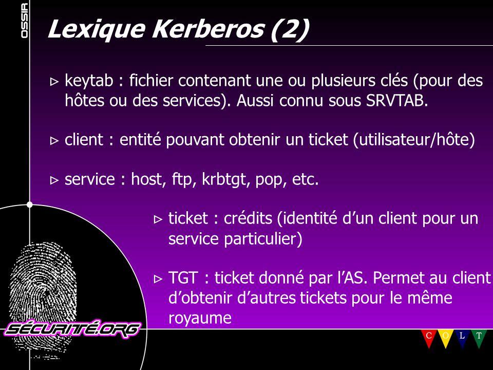 Lexique Kerberos (2)  keytab : fichier contenant une ou plusieurs clés (pour des hôtes ou des services). Aussi connu sous SRVTAB.  client : entité p