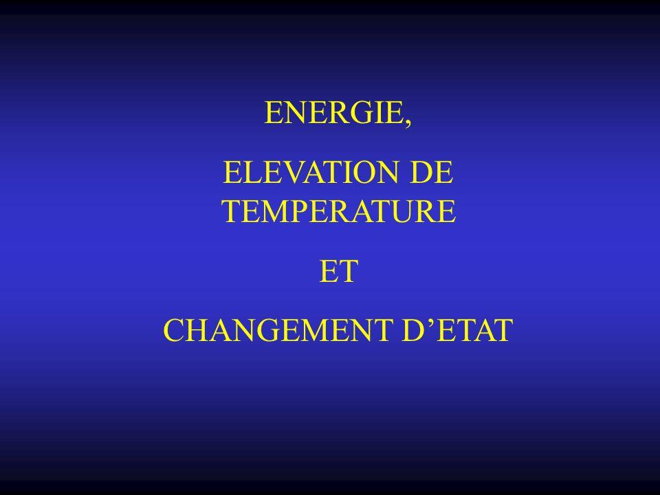 ENERGIE, ELEVATION DE TEMPERATURE ET CHANGEMENT D'ETAT