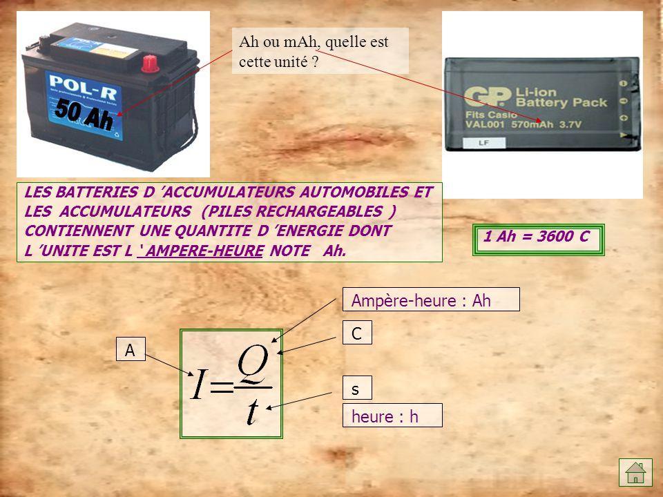 Ah ou mAh, quelle est cette unité ? LES BATTERIES D 'ACCUMULATEURS AUTOMOBILES ET LES ACCUMULATEURS (PILES RECHARGEABLES ) CONTIENNENT UNE QUANTITE D