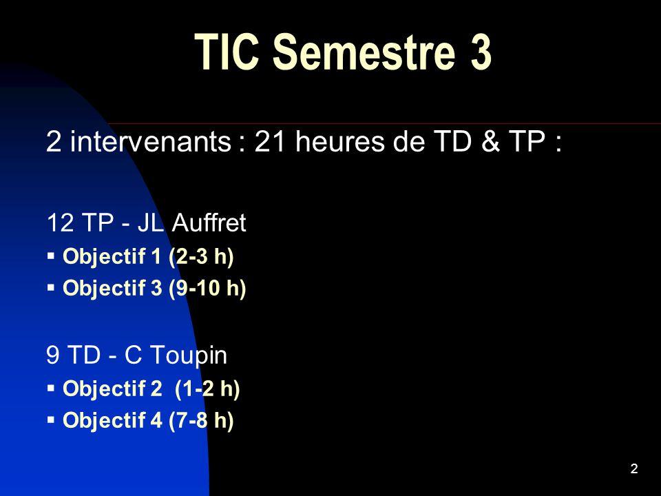 2 TIC Semestre 3 2 intervenants : 21 heures de TD & TP : 12 TP - JL Auffret  Objectif 1 (2-3 h)  Objectif 3 (9-10 h) 9 TD - C Toupin  Objectif 2 (1-2 h)  Objectif 4 (7-8 h)