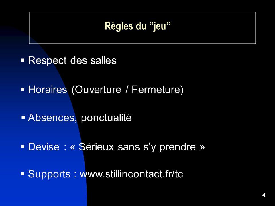 4 Règles du ''jeu''  Respect des salles  Absences, ponctualité  Horaires (Ouverture / Fermeture)  Devise : « Sérieux sans s'y prendre »  Supports : www.stillincontact.fr/tc