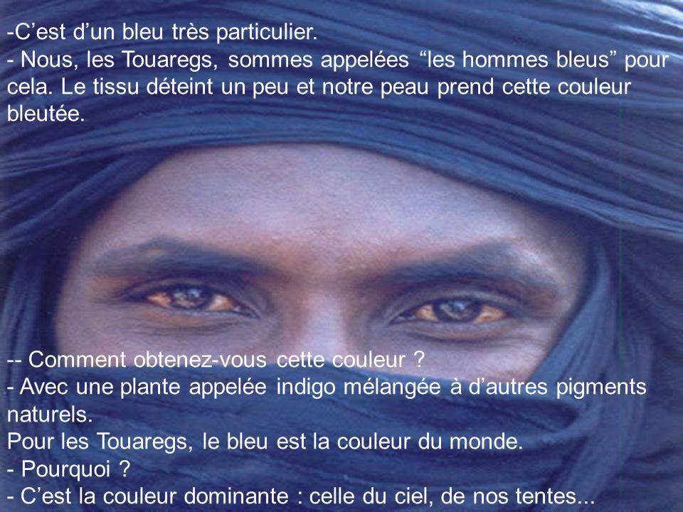Je suis célibataire. Je défends les bergers touaregs. Je suis musulman. Sans fanatisme. - Quel beau turban ! C'est fait en fine toile de coton. Cela p