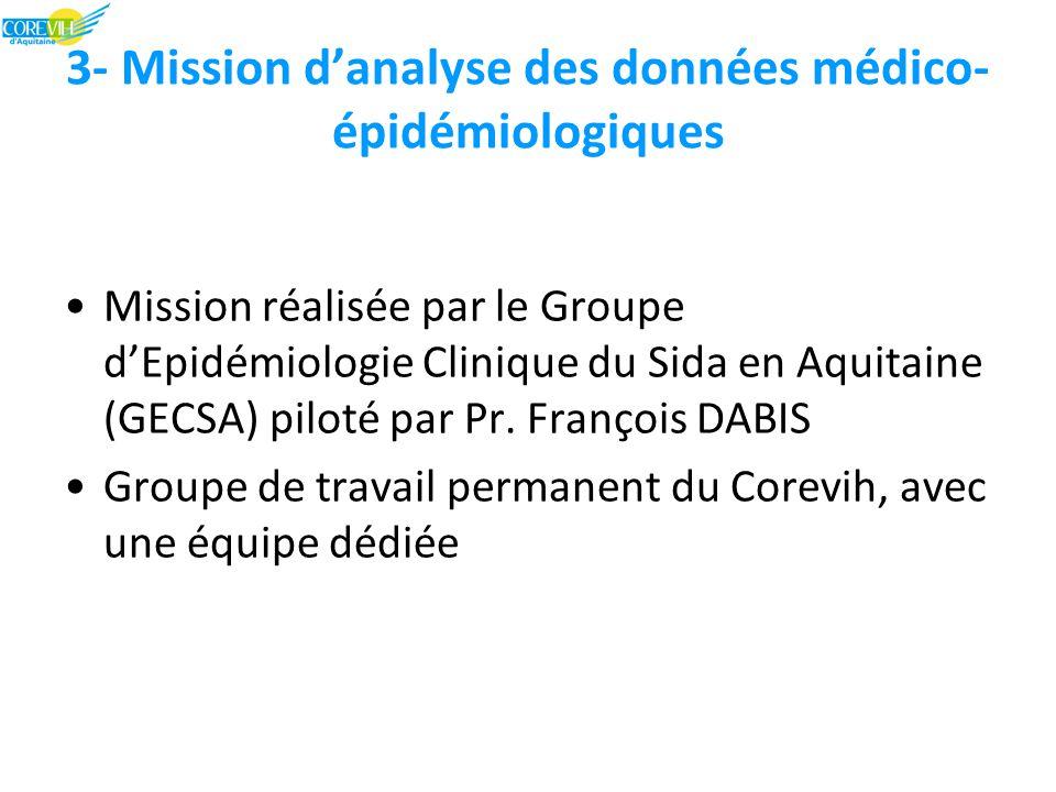 3- Mission d'analyse des données médico- épidémiologiques Mission réalisée par le Groupe d'Epidémiologie Clinique du Sida en Aquitaine (GECSA) piloté par Pr.