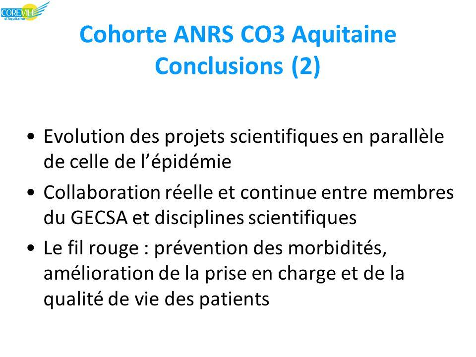Cohorte ANRS CO3 Aquitaine Conclusions (2) Evolution des projets scientifiques en parallèle de celle de l'épidémie Collaboration réelle et continue entre membres du GECSA et disciplines scientifiques Le fil rouge : prévention des morbidités, amélioration de la prise en charge et de la qualité de vie des patients