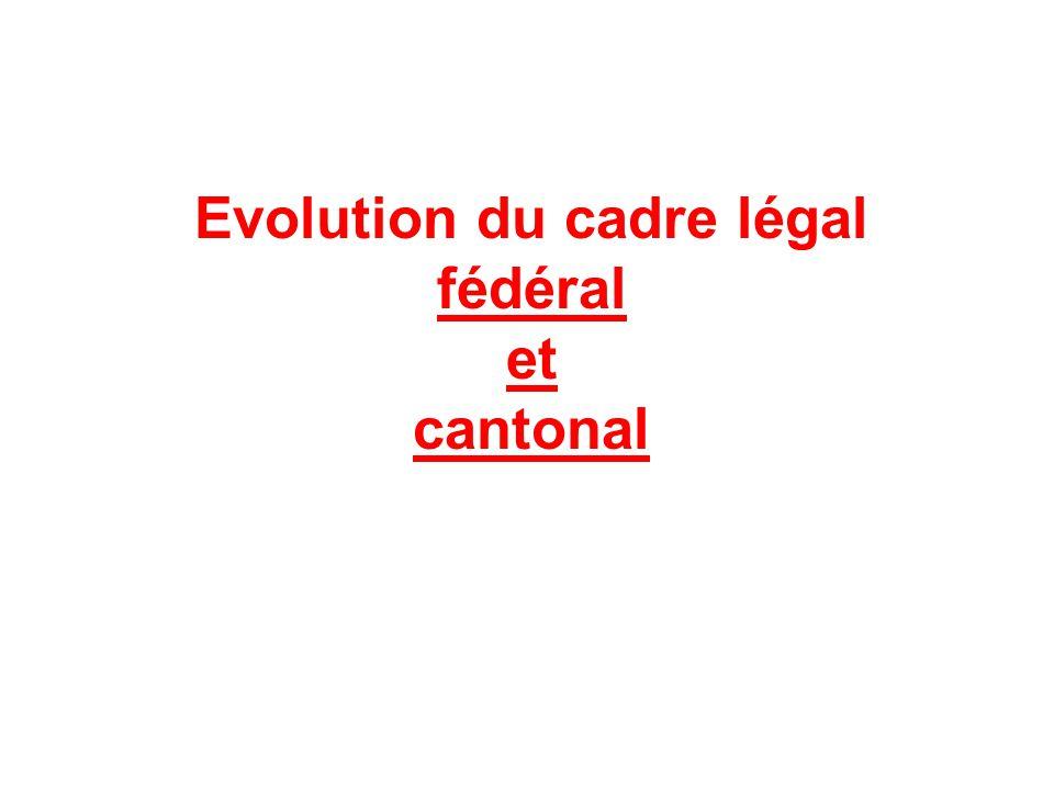 Evolution du cadre légal fédéral et cantonal