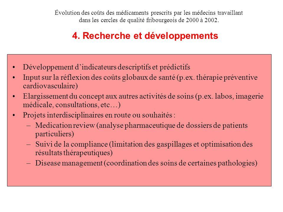 Développement d'indicateurs descriptifs et prédictifs Input sur la réflexion des coûts globaux de santé (p.ex. thérapie préventive cardiovasculaire) E