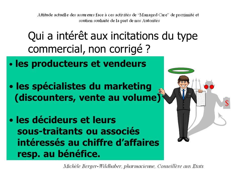 les producteurs et vendeurs les spécialistes du marketing (discounters, vente au volume) les décideurs et leurs sous-traitants ou associés intéressés
