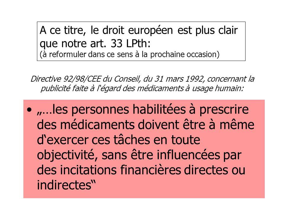 """Directive 92/98/CEE du Conseil, du 31 mars 1992, concernant la publicité faite à l'égard des médicaments à usage humain: """"…les personnes habilitées à"""