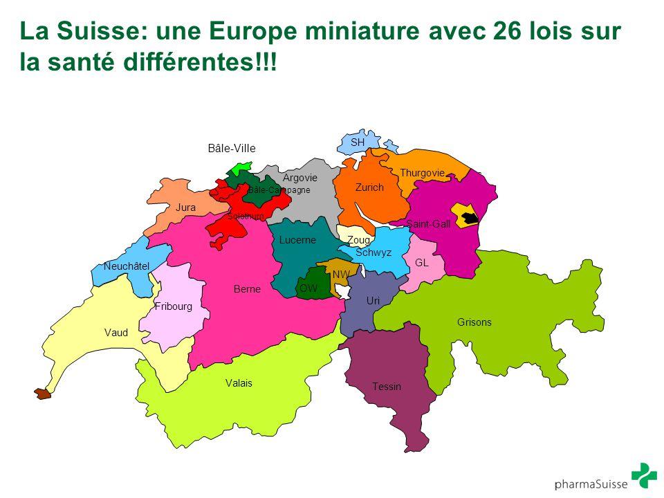 La Suisse: une Europe miniature avec 26 lois sur la santé différentes!!! Jura Valais Grisons Uri GL Aus ser- Rho den Inn er- Rh od en SH Zurich Schwyz