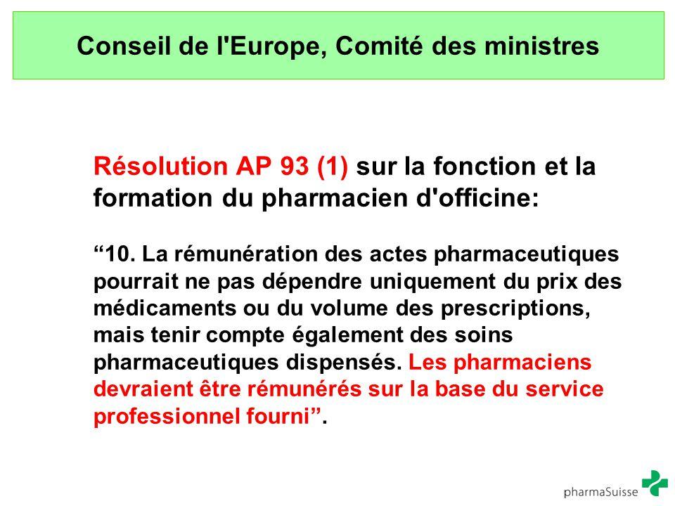 """Conseil de l'Europe, Comité des ministres Résolution AP 93 (1) sur la fonction et la formation du pharmacien d'officine: """"10. La rémunération des acte"""