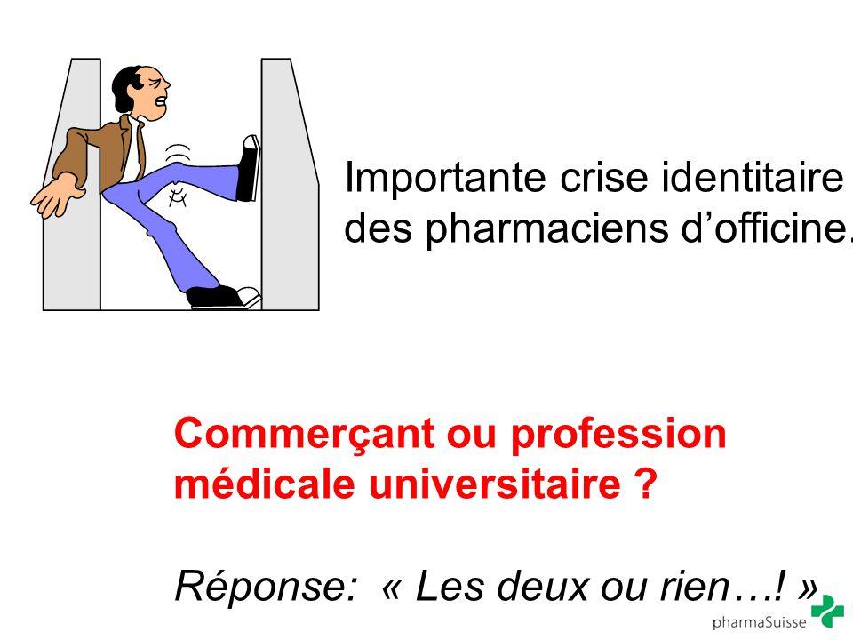 Importante crise identitaire des pharmaciens d'officine. Commerçant ou profession médicale universitaire ? Réponse: « Les deux ou rien…! »