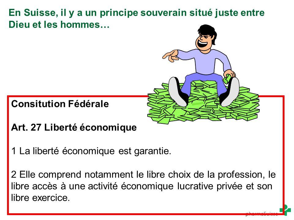 En Suisse, il y a un principe souverain situé juste entre Dieu et les hommes… Consitution Fédérale Art. 27 Liberté économique 1 La liberté économique
