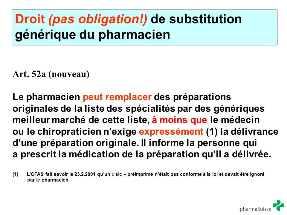 Droit (pas obligation!) de substitution générique du pharmacien Art. 52a (nouveau) Le pharmacien peut remplacer des préparations originales de la list