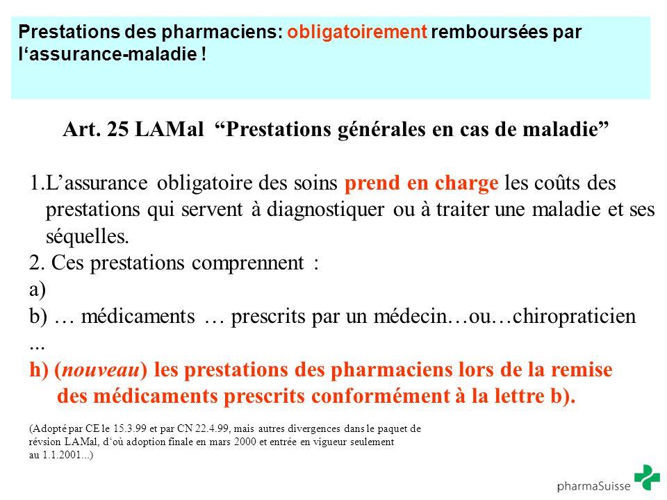 """Prestations des pharmaciens: obligatoirement remboursées par l'assurance-maladie ! Art. 25 LAMal """"Prestations générales en cas de maladie"""" 1.L'assuran"""