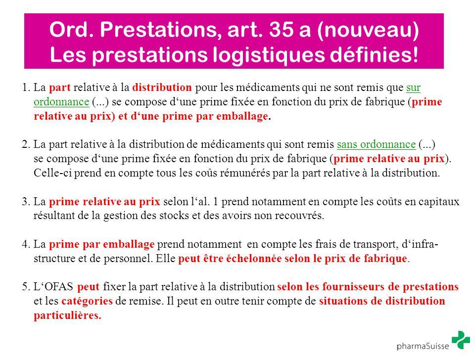 Ord. Prestations, art. 35 a (nouveau) Les prestations logistiques définies! 1. La part relative à la distribution pour les médicaments qui ne sont rem