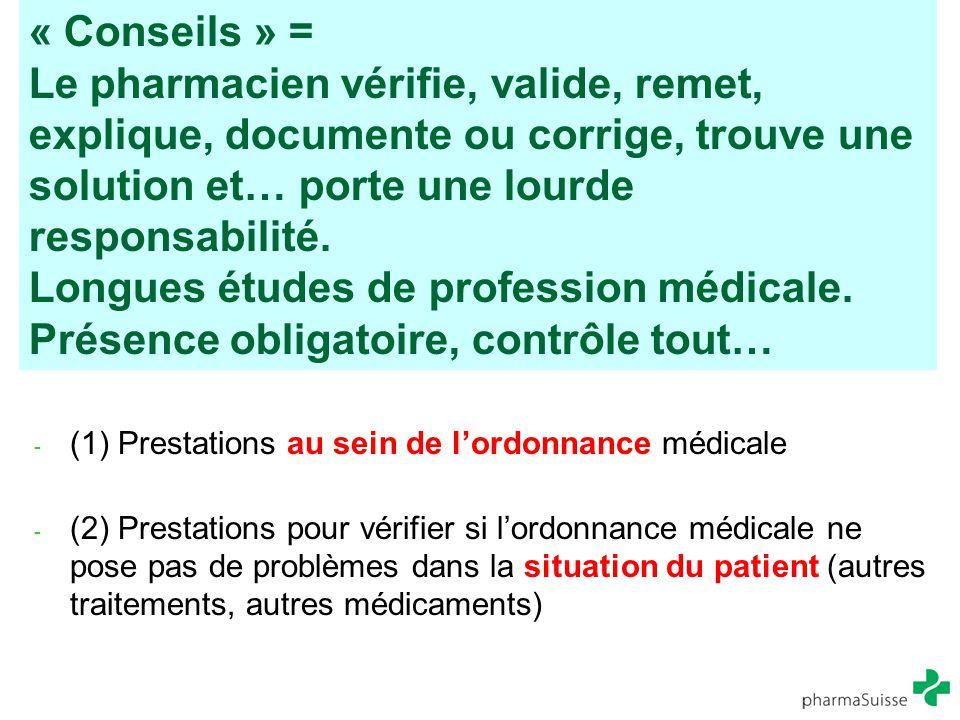 « Conseils » = Le pharmacien vérifie, valide, remet, explique, documente ou corrige, trouve une solution et… porte une lourde responsabilité. Longues