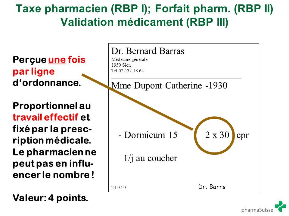 Taxe pharmacien (RBP I); Forfait pharm. (RBP II) Validation médicament (RBP III) Dr. Bernard Barras Médecine générale 1950 Sion Tel 027/32.18.64 _____