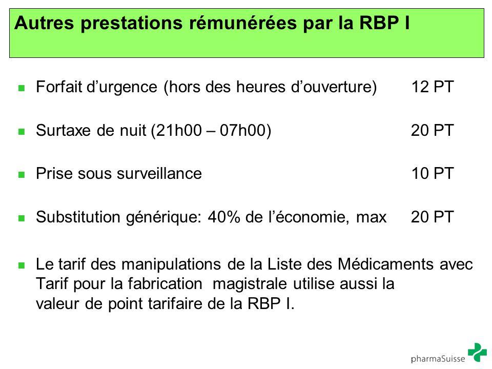 Autres prestations rémunérées par la RBP I Forfait d'urgence (hors des heures d'ouverture) 12 PT Surtaxe de nuit (21h00 – 07h00)20 PT Prise sous surve