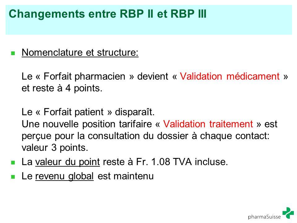 Changements entre RBP II et RBP III Nomenclature et structure: Le « Forfait pharmacien » devient « Validation médicament » et reste à 4 points. Le « F
