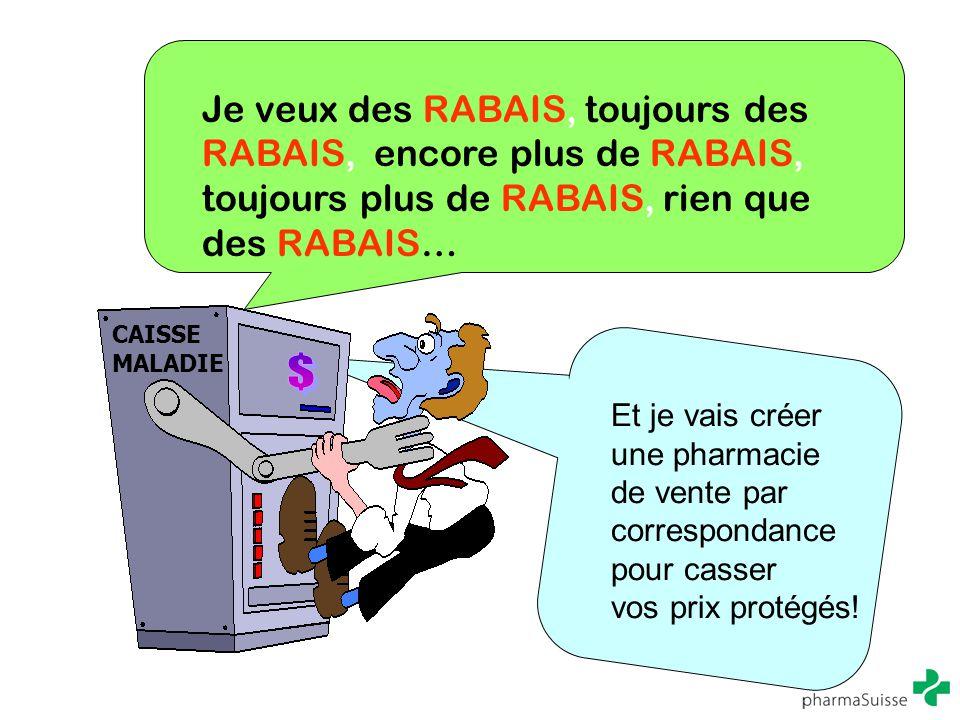 Je veux des RABAIS, toujours des RABAIS, encore plus de RABAIS, toujours plus de RABAIS, rien que des RABAIS… CAISSE MALADIE Et je vais créer une phar