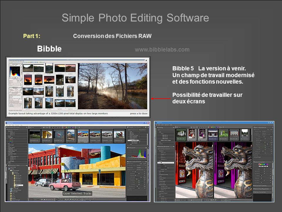 Simple Photo Editing Software Part 1:Conversion des Fichiers RAW Bibble www.bibblelabs.com Bibble 5 La version à venir. Un champ de travail modernisé