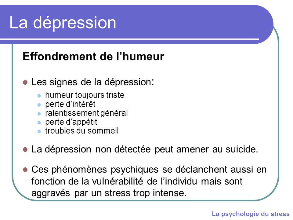 Effondrement de l'humeur Les signes de la dépression : humeur toujours triste perte d'intérêt ralentissement général perte d'appétit troubles du sommeil La dépression non détectée peut amener au suicide.