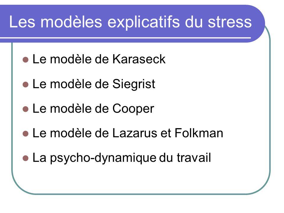 Les modèles explicatifs du stress Le modèle de Karaseck Le modèle de Siegrist Le modèle de Cooper Le modèle de Lazarus et Folkman La psycho-dynamique du travail