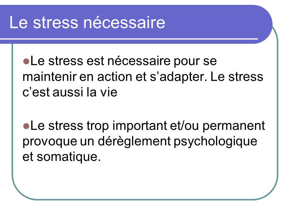 Le stress nécessaire Le stress est nécessaire pour se maintenir en action et s'adapter.