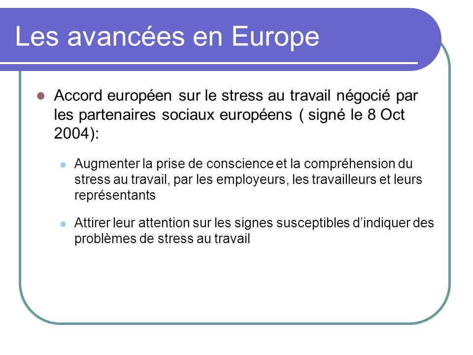 Les avancées en Europe Accord européen sur le stress au travail négocié par les partenaires sociaux européens ( signé le 8 Oct 2004): Augmenter la prise de conscience et la compréhension du stress au travail, par les employeurs, les travailleurs et leurs représentants Attirer leur attention sur les signes susceptibles d'indiquer des problèmes de stress au travail