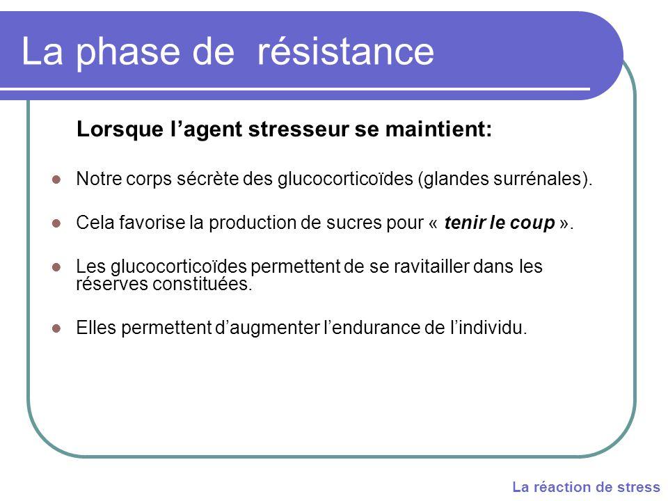 La phase de résistance Lorsque l'agent stresseur se maintient: Notre corps sécrète des glucocorticoïdes (glandes surrénales).