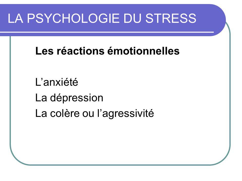 Les réactions émotionnelles Le stress active trois grand type d'émotions chez l'individu: L'anxiété: l'individu se rend compte que le stresseur représente un danger et se met en état d'alerte pour faire face La dépression: l'individu développe une réaction de détachement par rapport au stresseur; il endure sans agir il baisse les bras La colère ou l'agressivité: l'individu y trouve ses forces pour attaquer et tenter de détruire le stresseur.