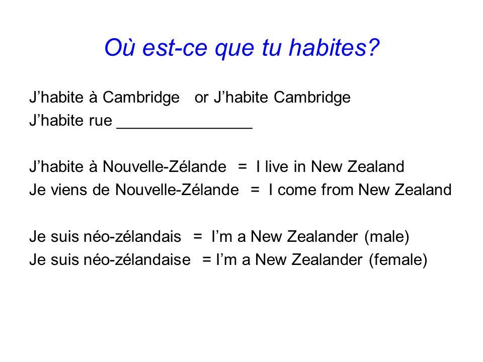 Où est-ce que tu habites? J'habite à Cambridge or J'habite Cambridge J'habite rue _______________ J'habite à Nouvelle-Zélande = I live in New Zealand