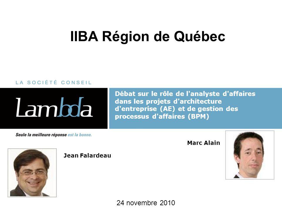 IIBA Région de Québec 24 novembre 2010 Débat sur le rôle de l'analyste d'affaires dans les projets d'architecture d'entreprise (AE) et de gestion des