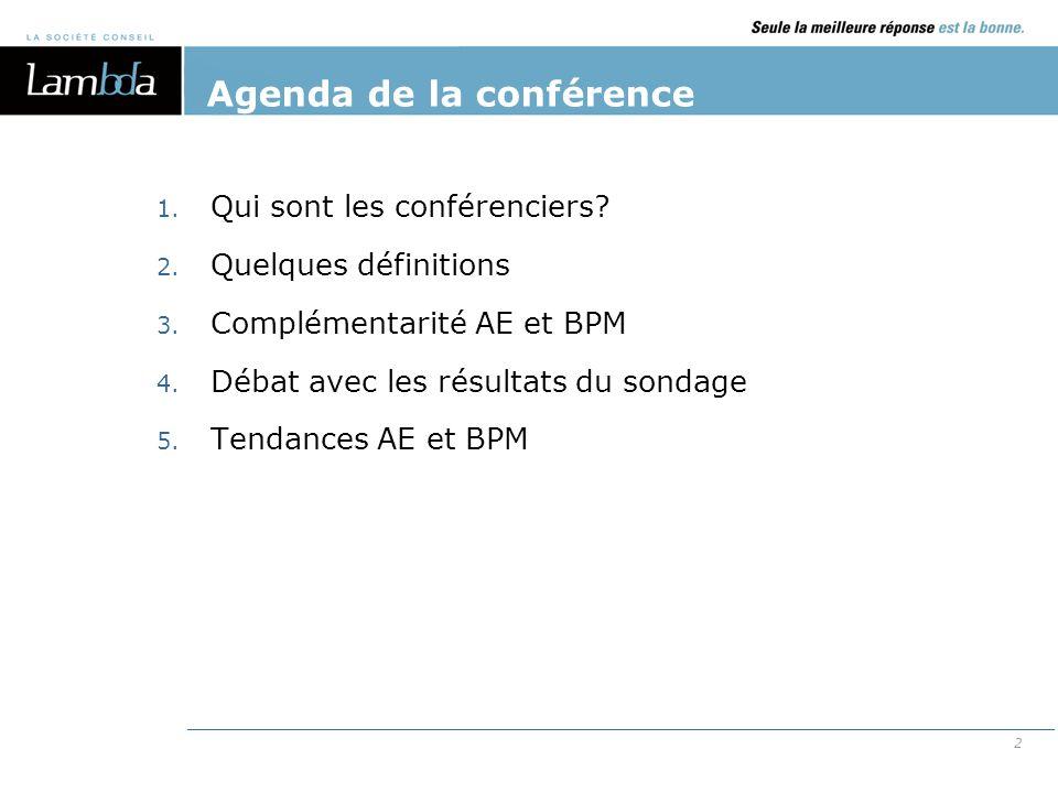2 Agenda de la conférence 1. Qui sont les conférenciers? 2. Quelques définitions 3. Complémentarité AE et BPM 4. Débat avec les résultats du sondage 5