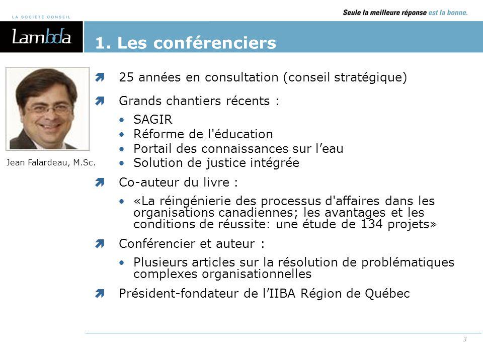 3  25 années en consultation (conseil stratégique)  Grands chantiers récents : SAGIR Réforme de l'éducation Portail des connaissances sur l'eau Solu