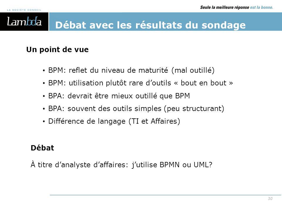 30 Débat avec les résultats du sondage BPM: reflet du niveau de maturité (mal outillé) BPM: utilisation plutôt rare d'outils « bout en bout » BPA: dev