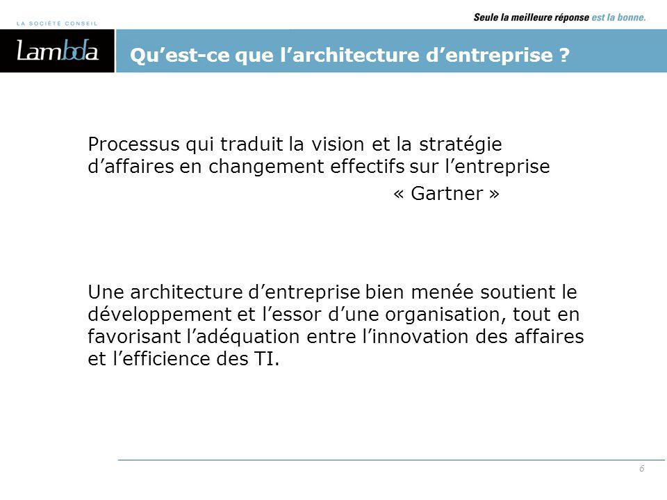 7 L'architecture d'entreprise vise à soutenir le développement et l'essor d'une organisation, tout en favorisant l'adéquation entre l'innovation des affaires et l'efficience des TI.