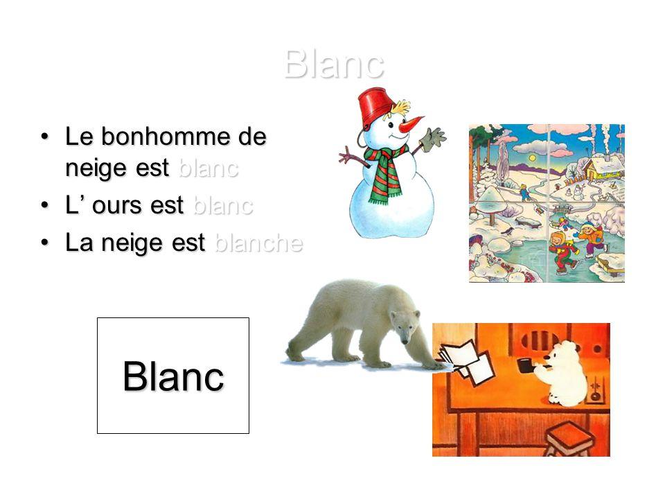 Blanc Le bonhomme de neige est blancLe bonhomme de neige est blanc L' ours est blancL' ours est blanc La neige est blancheLa neige est blanche Blanc