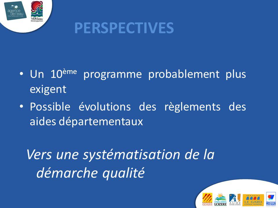 Un 10 ème programme probablement plus exigent Possible évolutions des règlements des aides départementaux PERSPECTIVES Vers une systématisation de la