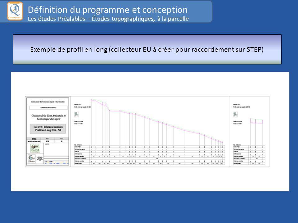 Exemple de profil en long (collecteur EU à créer pour raccordement sur STEP) Définition du programme et conception Les études Préalables – Études topographiques, à la parcelle
