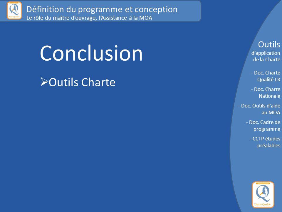 Conclusion  Outils Charte Définition du programme et conception Le rôle du maître d'ouvrage, l'Assistance à la MOA Outils d'application de la Charte - Doc.