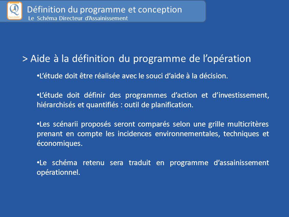 > Aide à la définition du programme de l'opération L'étude doit être réalisée avec le souci d'aide à la décision.