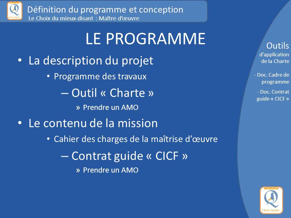 LE PROGRAMME La description du projet Programme des travaux – Outil « Charte » » Prendre un AMO Le contenu de la mission Cahier des charges de la maît