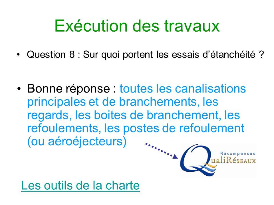 Exécution des travaux Question 8 : Sur quoi portent les essais d'étanchéité ? Les outils de la charte Bonne réponse : toutes les canalisations princip